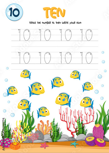 Staande foto Kids Number ten tracing worksheets