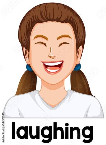 Young girl laughing facial expression