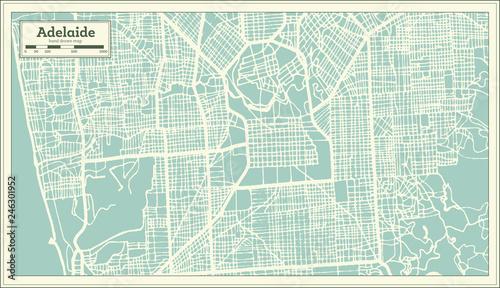 Fotografie, Obraz Adelaide Australia City Map in Retro Style. Outline Map.