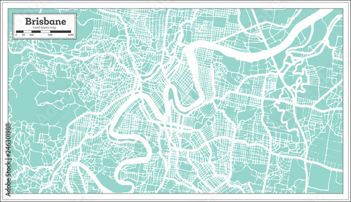 Obraz na plátně Brisbane Australia City Map in Retro Style. Outline Map.