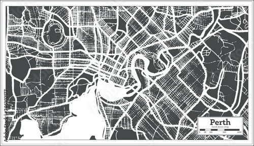 Fototapeta Perth Australia City Map in Retro Style. Outline Map.