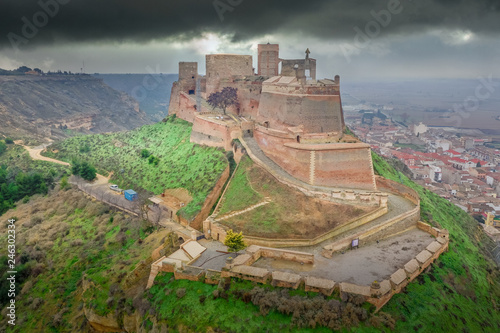 Aerial view of Monzon fortress a former Templer knight castle with Arab origins in the Aragon region of Spain