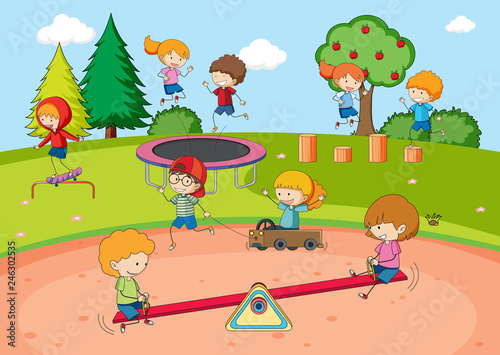 Fotografie, Tablou Children playing at playground