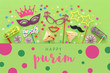 Leinwanddruck Bild - Purim celebration concept (jewish carnival holiday) over green wooden background. Top view, Flat lay.