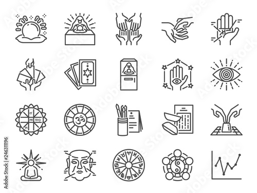 Fortune telling line icon set Fotobehang