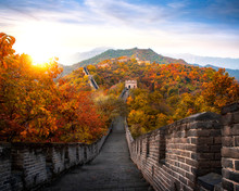 Chinese Great Wall In Autumn