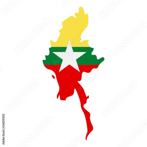 Fotografía map of Myanmar - flag
