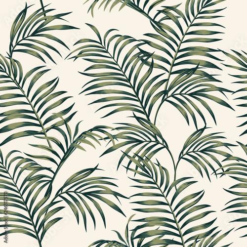 fototapeta na lodówkę Tropical leaves seamless white background