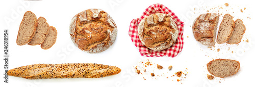Photo Stands Bread Freshly baked bread isolated on white background. Rustic wholegrain bread, round shape