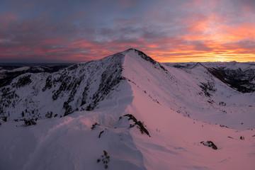 Beautiful sunrise under the peak of Chersky