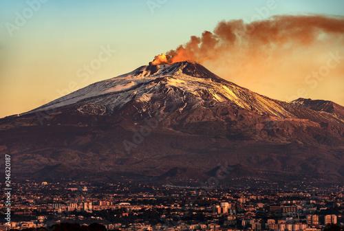 Fotografie, Obraz Catania and Mount Etna Volcano in Sicily Italy