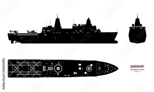 Fotomural Black silhouette of military ship