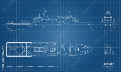 Photo Outline blueprint of military ship