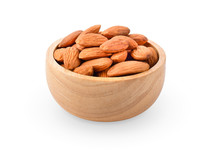 Almond Nuts In Bowl On White Background.