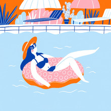 Illustration Of A Girl Relaxing In The Swimming Pool