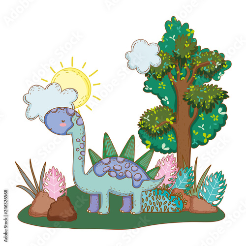 Canvas Prints Dinosaurs cute apatosaurus with tree in the landscape