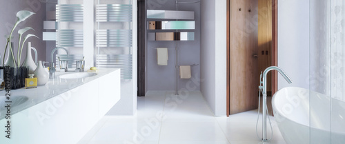 Modern bathroom in panoramic view - 3d visualization