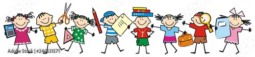 Happy kids and school supplies. Group of girls and boys. Vector icon. - 246331571
