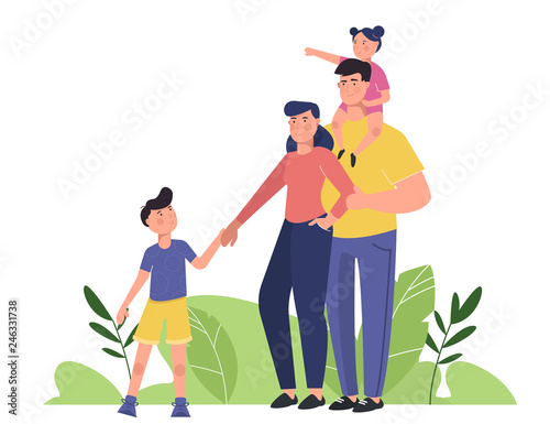 Happy Family With Parents And Children Young Family Toddler Girl And Small Boy Mother And Father Standing Together Flat Cartoon Characters Isolated On White Background Buy This Stock Vector And Explore