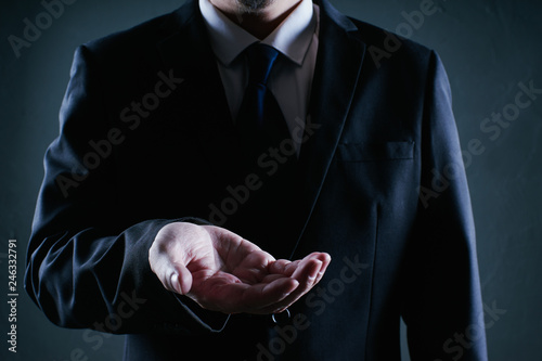 Fotografie, Obraz  Businessman hold gesture pose . Low key lighting .
