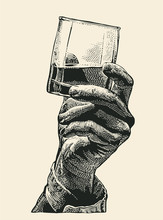 Male Hand Holding Glass Whiske...