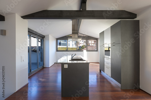Interior Of A Modern Kitchen In Old House Stock Photo Adobe