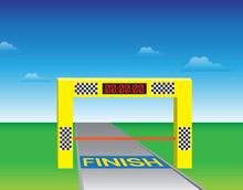 Finishing Gates With A Clock. Vector. Illustration