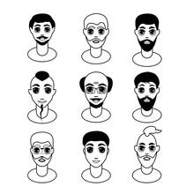 Men Faces Set. Black White Vector Illustration