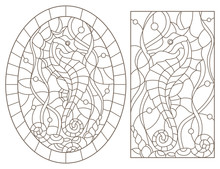 Set Contour Illustrations Of Stained Glass With Sea Horses On A Background Of Seaweed, Rectangular And Oval Image