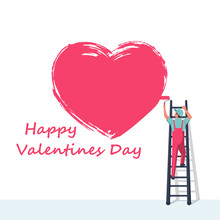 Artist On The Stairs Draws Big Red Heart On Wall. Grunge Stroke. Symbol Of Love. Greeting Cards For Valentine's Day. Painted With Brush. Vector Illustration Flat Design. Isolated On White Background.