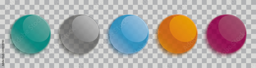 Fototapety, obrazy: Glossy Transparent Buttons Transparent Header