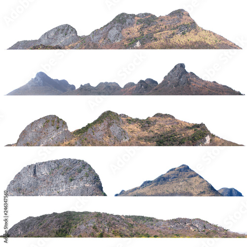 Wall Murals Island collection of mountain isolate on white background