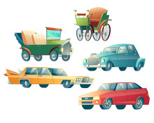 Modern And Retro Cars Cartoon ...