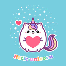 Little Unicorn. Cute Kawai Cat Unicorn With A Heart. For The Design Of Posters, Prints, Postcards And So On. Vector