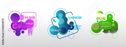 fototapeta na lodówkę Set of liquid graphic elements, vector template