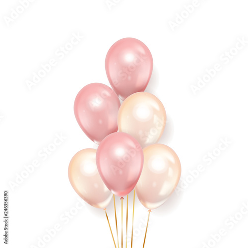 Obrazy różowe  realistic-pink-balloons-isolated-on-white-background-vector-illustration