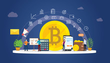 Bitcoin Cryptocurrency Digital Money Business With Gold Coin Icons And Team People Working Together To Manage Finance Investment - Vector
