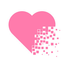 Heart With Dissolving Pieces Effect Flat Vector Icon.