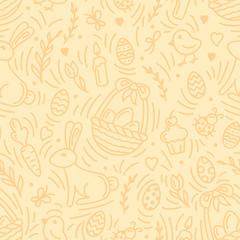 Easter holiday seamless pattern with eggs, rabbits and other elements. Linear style vector illustration. Suitable for wallpaper, wrapping or textile
