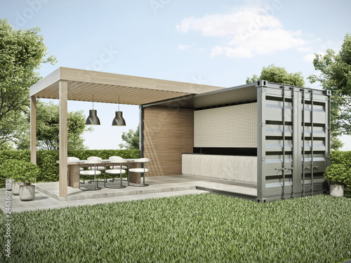 Fotografia  Exterior container dinning area in backyard 3D render
