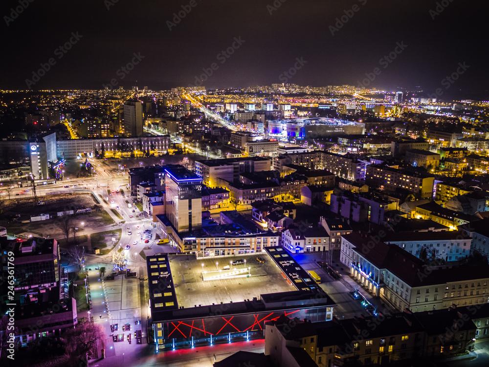 Fototapety, obrazy: Kielce nocą panorama miasta