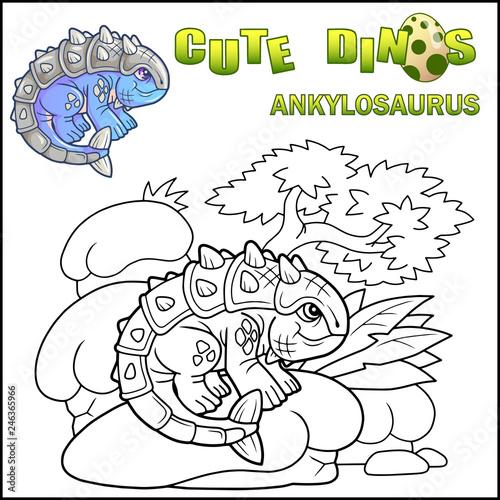 cute cartoon prehistoric dinosaur ankylosaurus, coloring ...