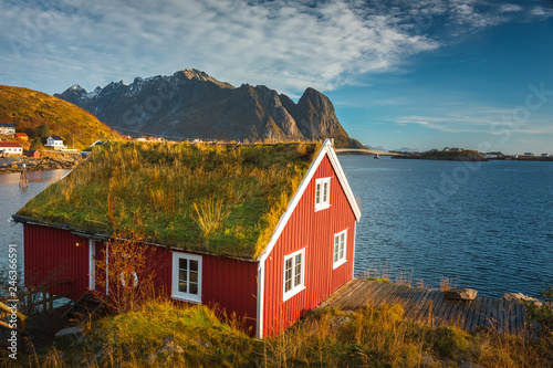 Türaufkleber Landschaft Lofoten landscape in autumn norway mountains