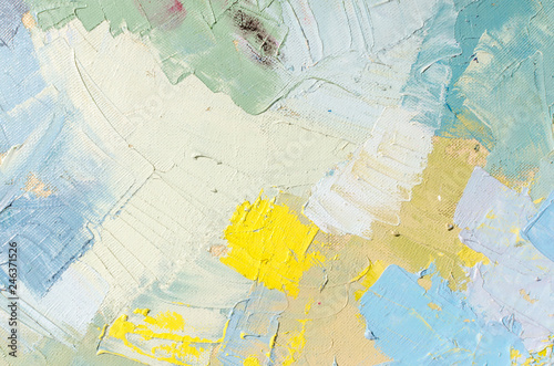 Abstract colorful oil painting on canvas. Oil paint texture with brush and palette knife strokes. Multi colored wallpaper. Macro close up acrylic background. Modern art concept. Horizontal fragment. - 246371526