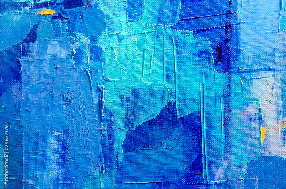 Fototapeta Abstract colorful oil painting on canvas. Oil paint texture with brush and palette knife strokes. Multi colored wallpaper. Macro close up acrylic background. Modern art concept. Horizontal fragment.