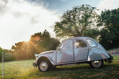 Photo  2CV french, a cult car that has gone down in history by its design and style