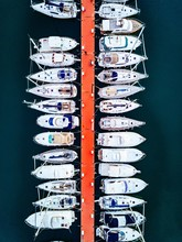 Aerial View Of Marina With Boats And Yachts In Italy.