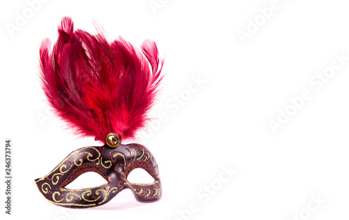 Carnival mask with red feathers. Carnival mask on white background. Copy space