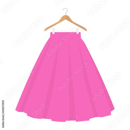 Garden Poster Vector pink skirt template, design fashion woman illustration. Women bubble skirt on hanger