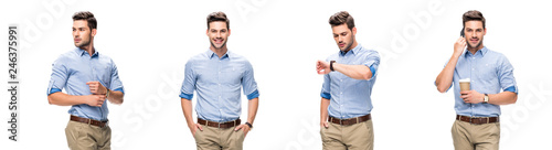 Valokuva  collage of handsome office worker in blue shirt and beige pants looking at watch